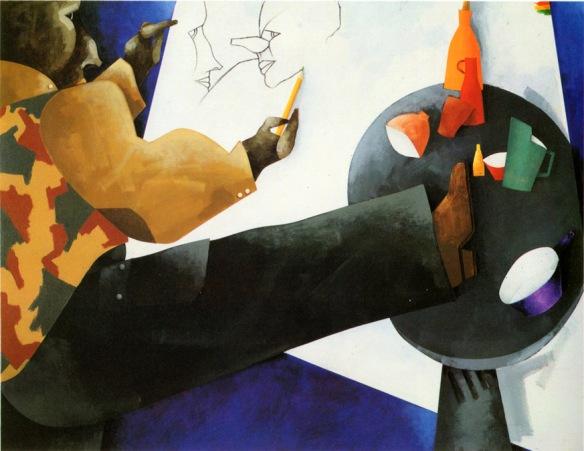 Francesco Tadini archivio, opera di Emilio Tadini, L'Atelier, 1993, acrilici su tela, 114x146,003